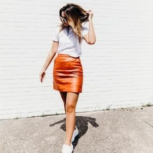 Topshop | Metallic Bronze Faux Leather Skirt